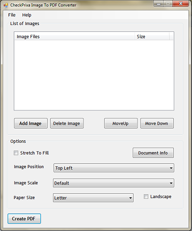 Click to view CheckPrixa Image To PDF Converter 1.0 screenshot